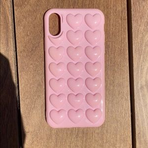 iPhone X pink heart phone case